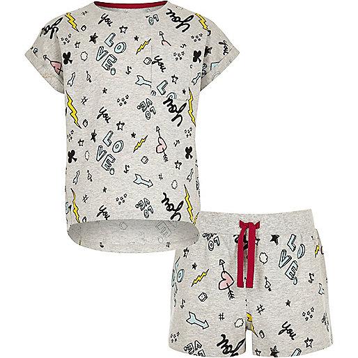 Girls grey doodle print T-shirt pajama set