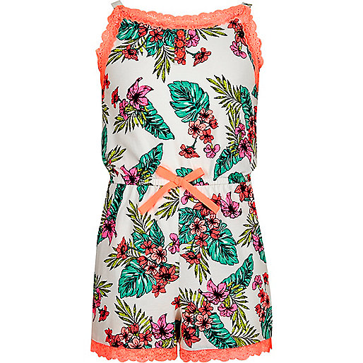 Girls white tropical print lace romper
