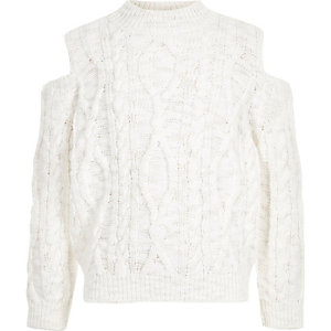 Girls white cold shoulder cable knit jumper