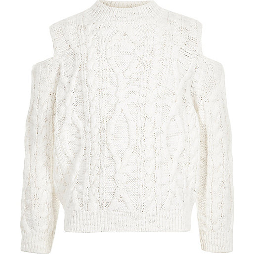 Girls white cold shoulder cable knit sweater