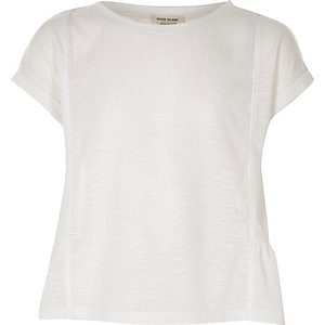 Girls white peplum T-shirt