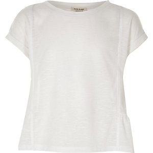 Wit T-shirt met peplum voor meisjes