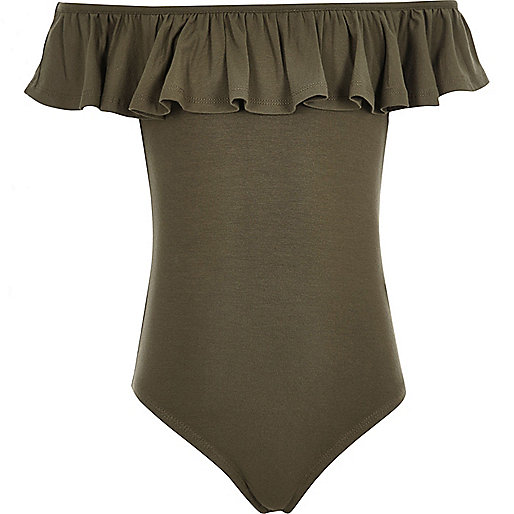 Girls khaki green ruffle bardot bodysuit