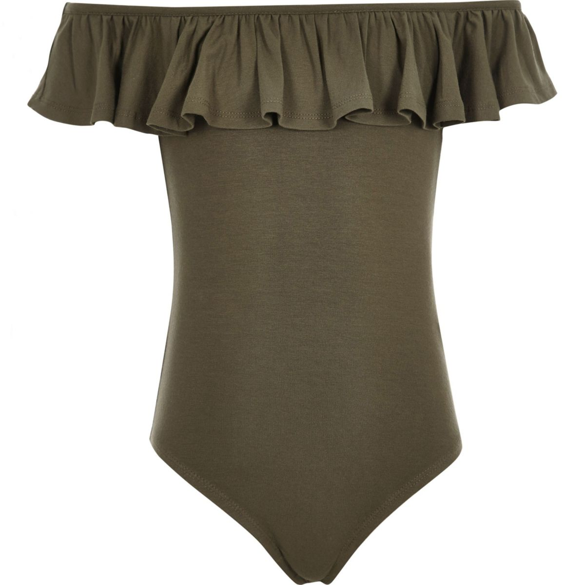 Girls khaki green ruffle bardot bodysuit