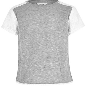 Girls grey marl lace T-shirt