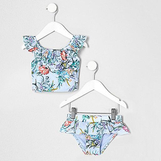 Mini girls blue floral trim tankini