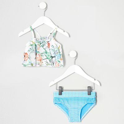 Mini Witte gebloemde bikini met laagjes en ruches voor meisjes