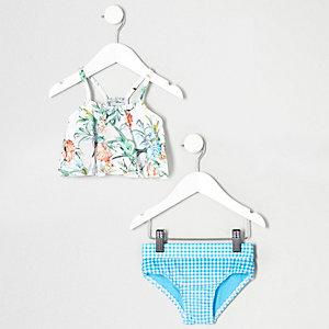 Weißer Bikini mit Rüschen und Blumenmuster