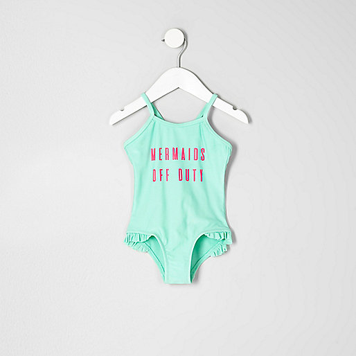 Mini girls green 'mermaids' print swimsuit