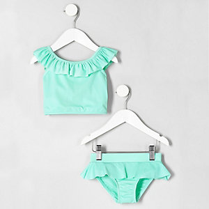 Mini girls green frill trim tankini