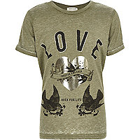 Girls khaki green burnout 'Love' band T-shirt