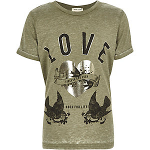 Girls khaki green burnout 'Love' band T-shirt