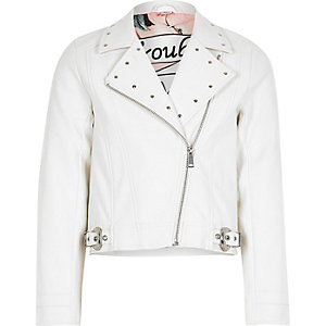 Girls white studded biker jacket