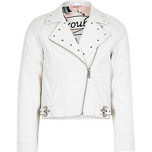 Girls white studded biker jacket