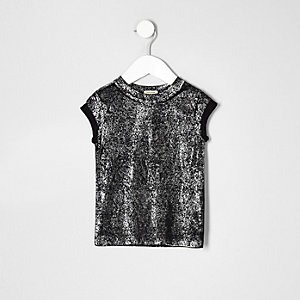 Mini girls black sparkly T-shirt