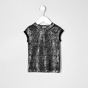 T-shirt noir brillant mini fille