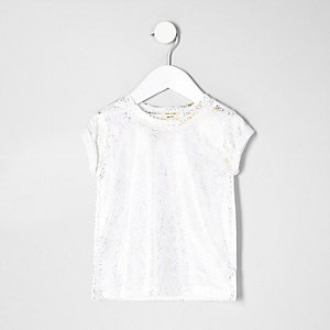 T-shirt blanc brillant mini fille