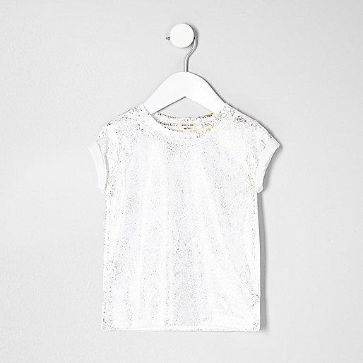 Mini girls white sparkly T-shirt