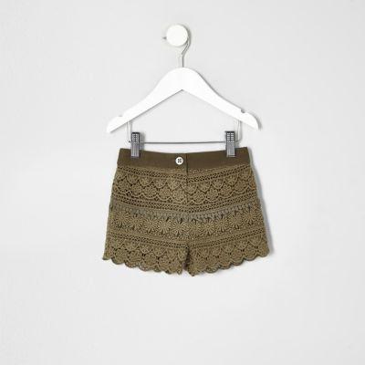 Mini Kaki gehaakte short voor meisjes