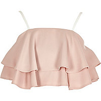 Girls pink double frill crop top