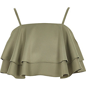 Khaki frill crop top