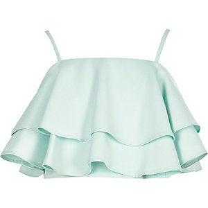 Girls green deep frill cami crop top
