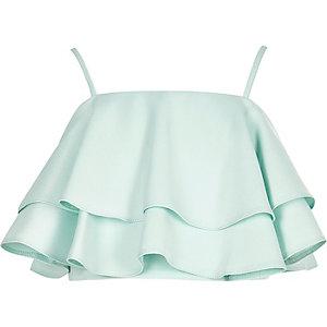 Girls green deep frill cami crop top
