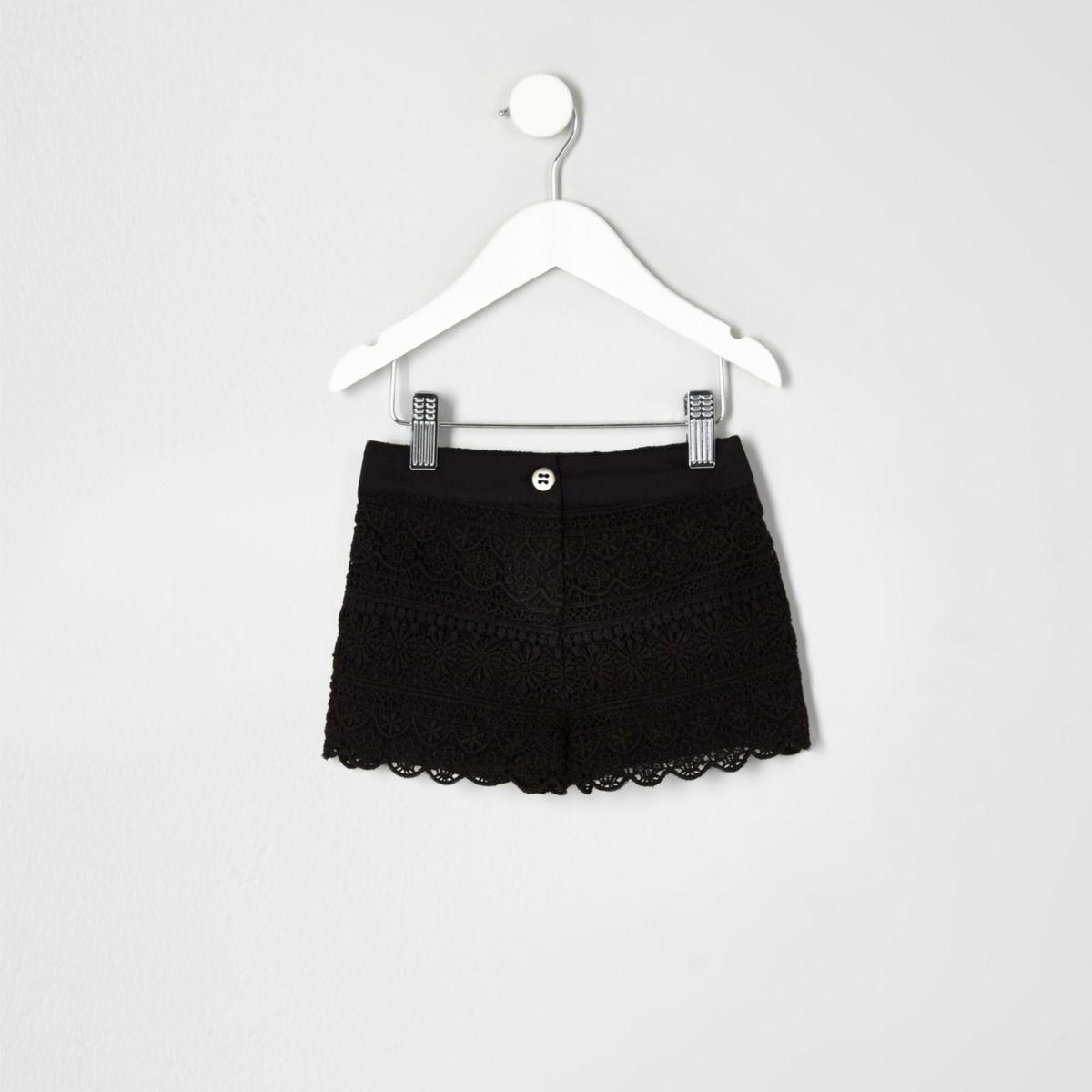 Mini girls black washed crochet shorts