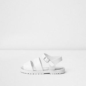 Sandales blanches à semelle épaisse pour mini fille