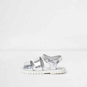 Mini girls silver croc chunky sandals