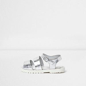 Sandales motif croco argentées à semelle épaisse pour mini fille