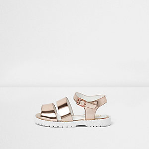 Mini girls rose gold tone chunky sandals