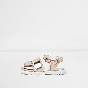 Sandales épaisses or rose pour mini fille