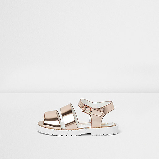 Mini girls rose gold tone chunky sandals