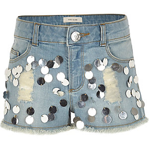 Girls blue sequin embellished denim shorts