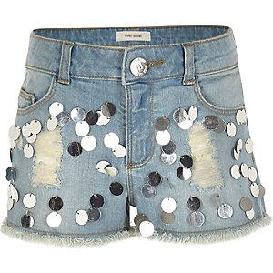 Girls blue sequin embellished denim shorts