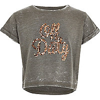 Girls khaki sequin off duty T-shirt