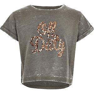 Girls khaki sequin off duty T-shirt