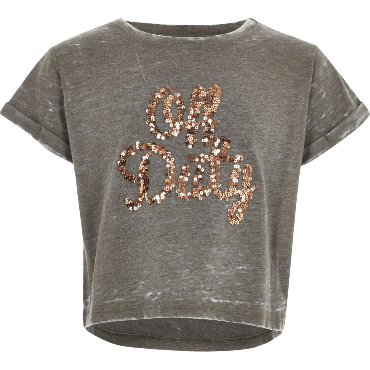 Girls khaki sequin off duty t shirt tops sale girls for Girls sequin t shirt