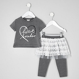 Mini girls grey burnout print T-shirt outfit