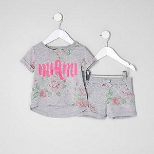 Ensemble imprimé «Miami» à fleurs mini fille