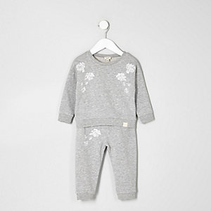 Mini girls grey sweatshirt and joggers set
