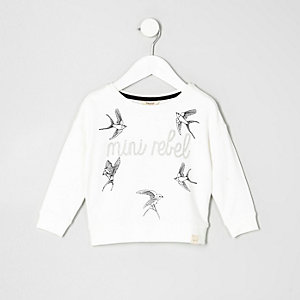 Mini girls cream rebel bird print sweatshirt