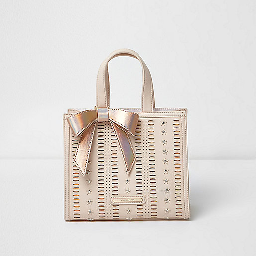 Girls light brown structured 3D star tote bag