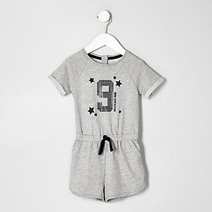 Mini girls grey marl number romper