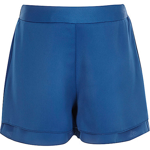 Girls blue high waisted shorts