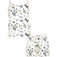 Girls cream doodle cami pyjama set