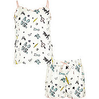 Girls cream doodle cami pajama set