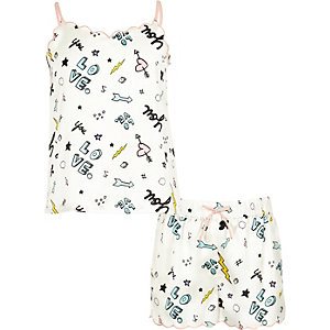 Crème cami pyjamaset met krabbelprint voor meisjes