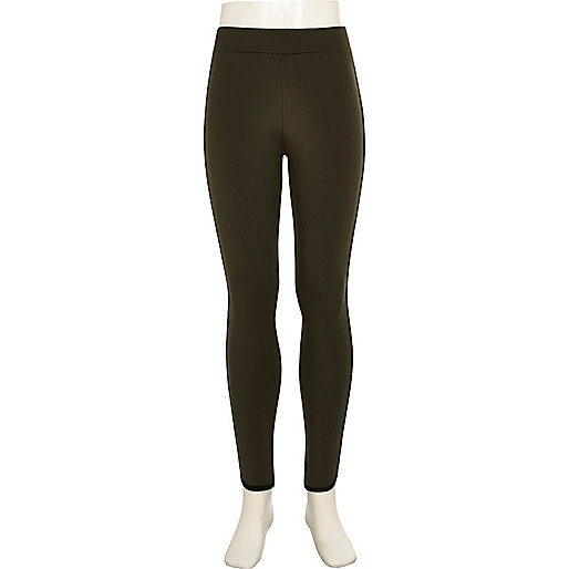 Girls green contrast piping leggings
